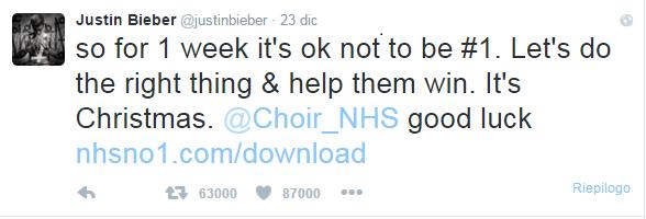 Tweet di Justin Bieber