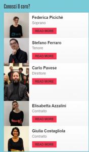 La sezione dedicata ai coristi sul sito del Coro G: una bella idea per personalizzarlo!